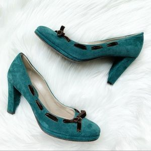 Boden Suede Block Heel Shoes Bow Teal Leather 41